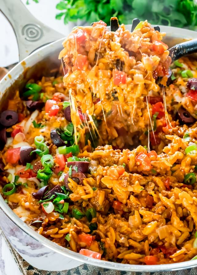 one pot, easy dinner, mexican dinner, taco skillet, favorite dinner recipes