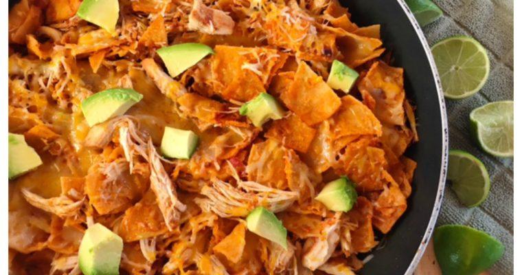 One Pan Cheesy Chicken Enchilada Skillet