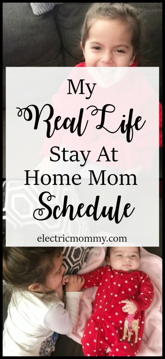 My Real Life Stay At Home Mom Schedule with a Toddler and a Newborn | Staying at home with two little ones is MUCH harder than I thought it would be. It's hard to have much of a schedule but here is what our day looks like (roughly). :) Pregnancy, Motherhood, SAHM, Mom Life, Toddler, Baby #sahm #stayathomemom #sahmschedule #motherhood