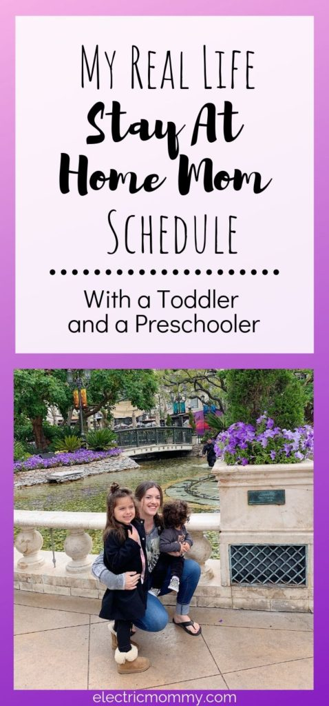 Balancing new schedules as my girls get older hasn't always been very easy. However, for me, it helps to have a routine to stick to as much as possible. Here's a peek into my day with a toddler and a preschooler. | Becoming a Stay at Home Mom | Advice for Stay at Home Moms | Stay at Home Mom Routine | Stay at Home Mom Schedule | Mom Articles #sahm #motherhood #momlife #momminainteasy #stayathomemom #momarticles